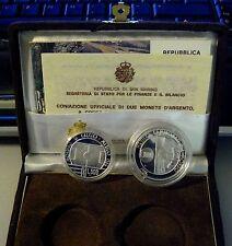 SAN MARINO LIRE 500+1000 ARGENTO CALCIO MONDIALI 1986 FONDO SPECCHIO PROOF