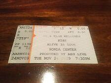 Kiss 24th November 2009 Ticket alive 35 Tour Stub Honda Center