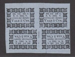 Colombia States Tolima Mint Block of 4 Wove Paper Gene Scott Setting V