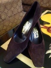 Salvatore Ferragamo Chocolate Brown Suede Pumps Size 6 1/2 B