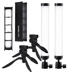 NANLITE Pavotube 6C II DUAL KIT, Light LED, Studio Lampe, Stativ, Grid