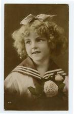 c 1917 Child Children Cute SAILOR SUIT GIRL photo postcard