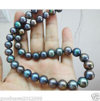 Genuine 9-10mm Black Pearl Necklace 18inch 14k Gold Plating