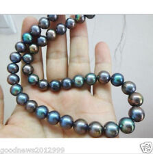 Genuine 9-10mm Multicolor Tahitian Black Pearl Necklace 18Inch 14K Gold Clasp
