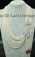 """7rows freshwater pearl white near round 4-5mm necklace jade faceted 18-24"""""""