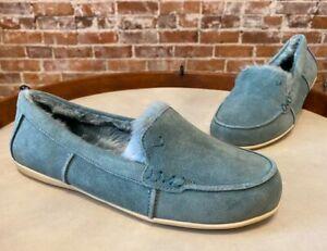 Vionic Sage Aqua Blue Suede Corinne Indoor Outdoor Orthodic Slipper Loafer New