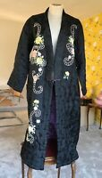 1930s Silk Coat Ladies Evening Antique Brocade Embroidered Full Length 10-14 Old