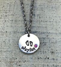 Name necklace birthstone footprint new mom Custom personalized Baby shower gift