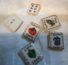 porcelain seed packet buttons six rectangle two hole turnip peas tomatoes corn