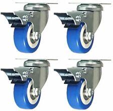 4 Pack 2 Caster Wheels Swivel Plate Total Lock Brake Blue Polyurethane Pu 260lb