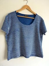 Ladies Lovely Alex & Co Blue & White Textured Waist Length Top Size 18, Vgc