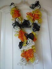 Handmade Crocheted Fashion Ruffle Scarf - Halloween Stripe Shimmer