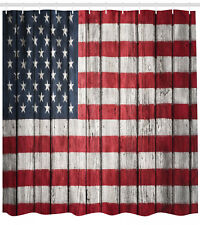 Usa Flag Painted on Rustic Wooden Planks Fabric Extra Long Shower Curtain