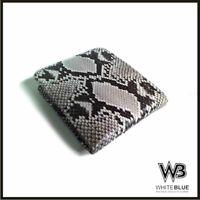 Handmade Genuine Python Skin Leather Mens Bifold Wallet - Natural