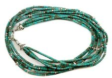Natural Blue Turquoise Necklace Heishi 5 Strand Matte Sterling Silver Bead 18 In