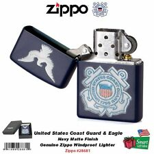 Zippo US Coast Guard & Eagle Lighter, Navy Matte  Finish, Windproof #28681