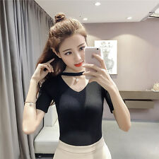 Women Knitted V Neck Casual T-shirt Short Sleeve Top Elastic Slim Fit Collar