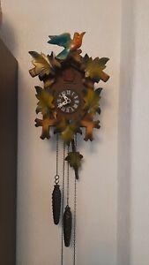 Albert schwab cuckoo clock black forest 1 day mechanical hand painted clock