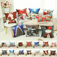 Pillow Sofa Throw Cotton Linen Case Xmas Gift Home Decor Christmas Cushion Cover