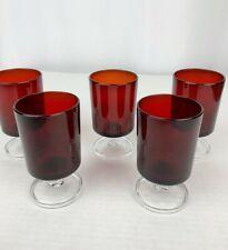 """5 Vintage Ruby Red Glasses Stem 4 oz Vintage 4"""" Made in France"""