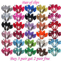 Girls kids Baby bow hair clips sides snaps children Ribbon hair accessories Pair
