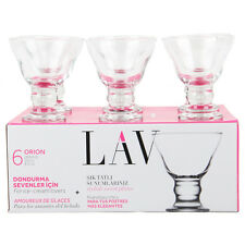 Clear Base Ice Cream Glasses Six Fluted Stem Style Cups LAV Desert Bowl