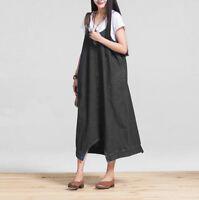 New Womens Denim Dungaree Overall Dress Jean Pinafore Suspender Skirt Baggy