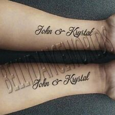 SET OF 2 PERSONALIZED CUSTOM NAME TEMPORARY TATTOO LOVE COUPLE BRIDAL STICKER