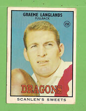 #D366.1968 Series 2 SCANLENS RUGBY LEAGUE CARD #28 GRAEME LANGLANDS, ST GEORGE