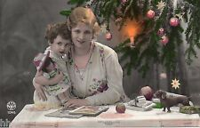 BJ512 Carte Photo vintage card RPPC enfant femme noél poupée doll jouet livre