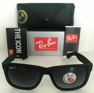 Ray-Ban Justin POLARIZED Sunglasses RB4165 622/T3 55mm Grey Gradient Matte Black