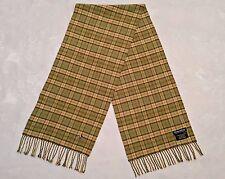 SCOTLAND-VINTAGE DONALDSON PLAID GREEN CASHMERE BLEND LONG MEN'S FRINGE SCARF