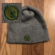 Stussy Solid Thin Knit Beanie Gray w/ green logo Skull Cap Torque Vintage