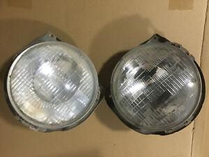 1977-1980 Chevy LUV Truck OEM Headlight Buckets Trim Rings and light bulbs