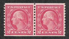 Doyle's_Stamps:  VF 1915  2c Washington Coil Pair, Scott #455**     (L30)