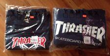 Thrasher Skateboard Magazine Hoodie Hoody Sweater & Skategoat Shirt Navy Mens L