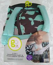 New! Go by Goldbug 2 In 1 Shopping Cart & High Chair Cover Teal Gray Whale