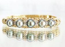AMAZING 14k Gold Tahitian Pearl & Diamond Plumeria Design Bangle Bracelet 37.8g
