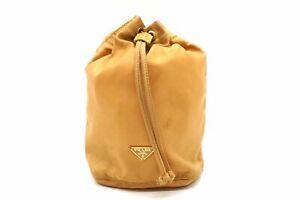 PRADA Triangular logo Nylon Mini pouch Drawstring bag Beige 5330h