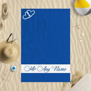 "58x39"" Personalised Blue Heart Mr Design Microfibre Beach Towel Wedding Gift"