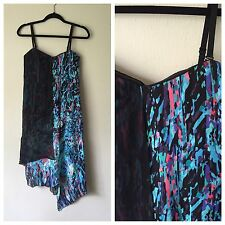 BCBG Max Azria Runway Dress 0 Black Silk Chiffon Blue Splatter Party Small XS