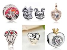 Silver Plated Charm Beads Minnie, Bouquet, Mum, Heart, Tropical Holiday, Family