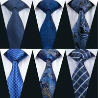 USA Men's Navy Blue Tie Hanky Necktie with Cufflinks and Pocket Square Tie Set
