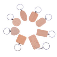 Natural wooden keychain key ring round square anti lost wood accessory gift H_ti