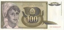 YUGOSLAVIA JUGOSLAVIA 100 DINARA BANK NOTE - UNCIRCULATED
