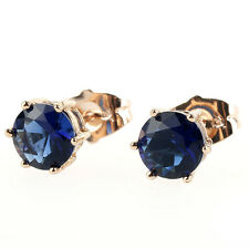 FIN003-18K 18K Yellow Gold Plated 8 mm Cut Blue Sapphire Round Stud Earrings