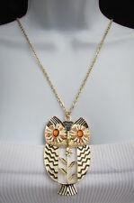 Women Long Fashion Jewelry Necklace Big Silver Gold Metal Owl Bling Bird Pendant