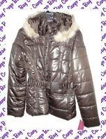 NEW SAY WHAT? BROWN PUFFER COAT W/ FAUX FUR HOOD WARM WINTER JACKET LARGE L