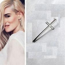 1 paire Bijoux Boucles d'oreilles style de croix argent argenté neuf