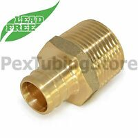 "1/2"" PEX x 1/2"" Male NPT Threaded Adapter - Brass Crimp Fitting, LEAD-FREE"
